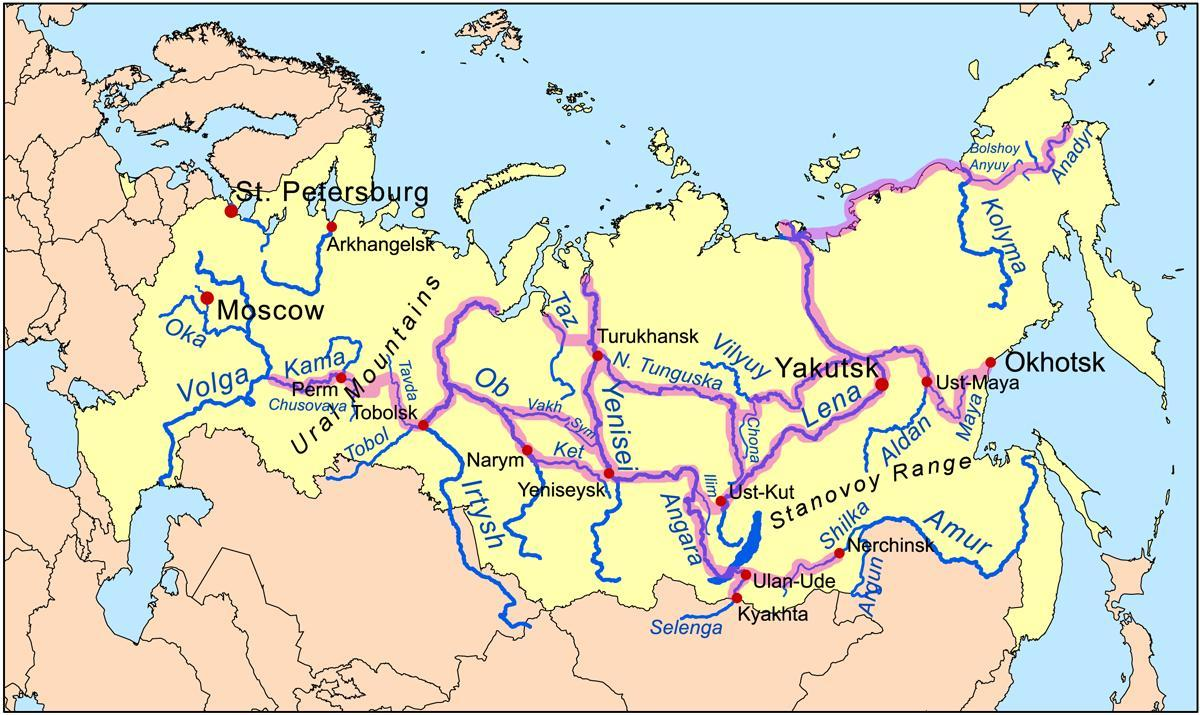 Rivieren In Rusland Kaart Kaart Van De Rivieren In Rusland Oost