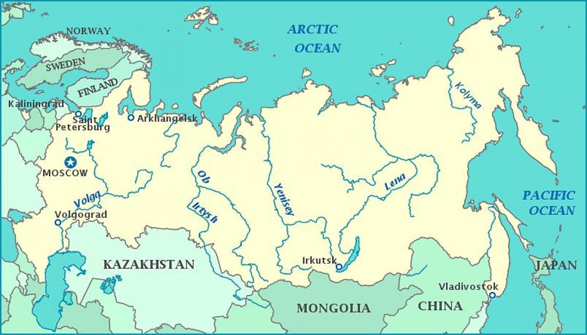 Rivieren Van Rusland Kaart Kaart Van Rusland Rivieren Oost
